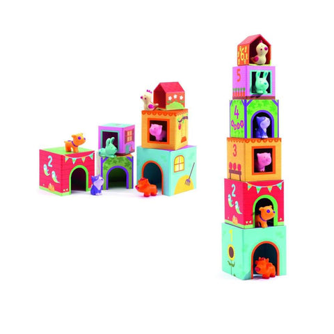 Image of Djeco Topanifarm Cubes for infants - 3070900091085