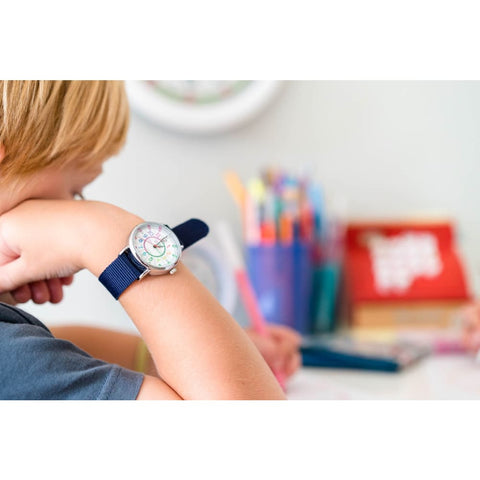 Image of Easyread Time Teaching Wrist Watch Rainbow face navy blue - Teacher 0799439456211