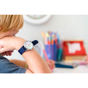 Easyread Time Teaching Wrist Watch Rainbow face navy blue - Teacher 0799439456211