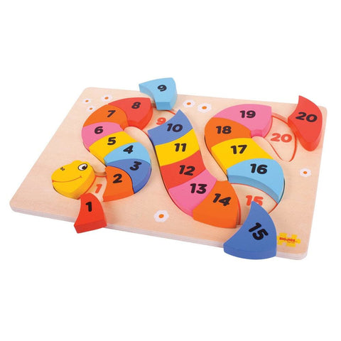 Image of Snake Counting Wooden Puzzle - Bigjigs Toys 691621195178
