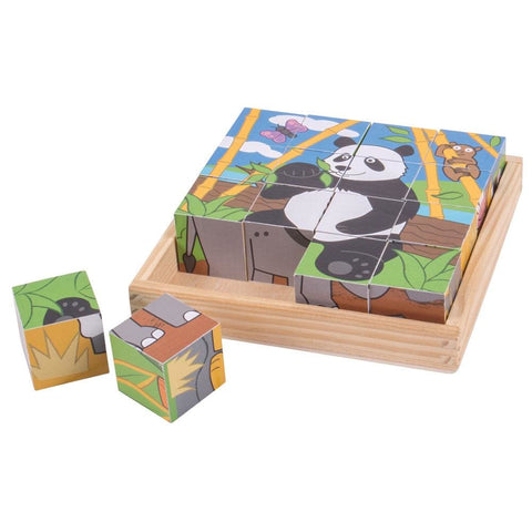 Image of Wild Animal Wooden Cube Puzzle - Bigjigs Toys 691621192634