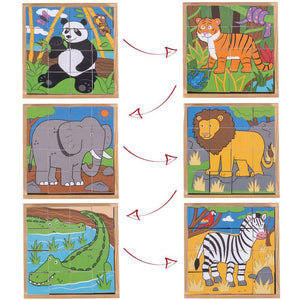 Wild Animal Wooden Cube Puzzle - Bigjigs Toys 691621192634