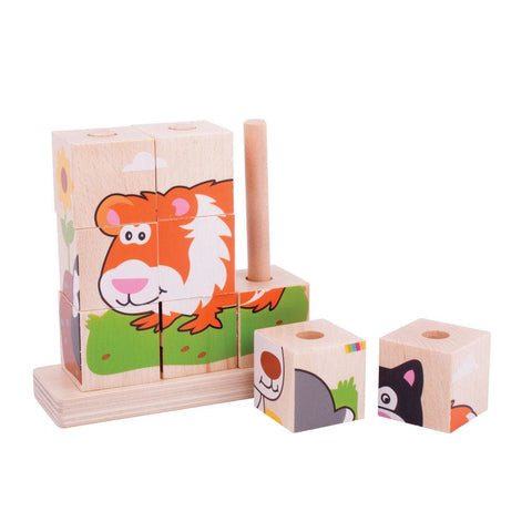 Image of Wooden Stacking Blocks Pets - Bigjigs Toys 691621531044