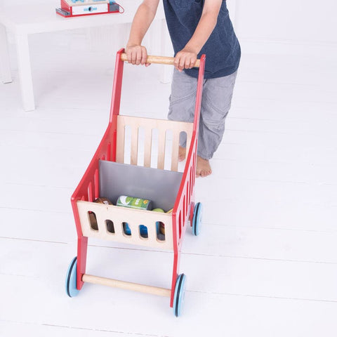 Image of Wooden Supermarket Trolley - Bigjigs Toys 691621024669