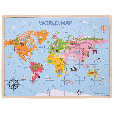 Image of World Map Wooden Puzzle - Bigjigs Toys 691621190982