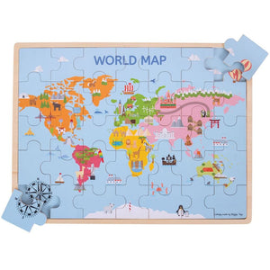World Map Wooden Puzzle - Bigjigs Toys 691621190982
