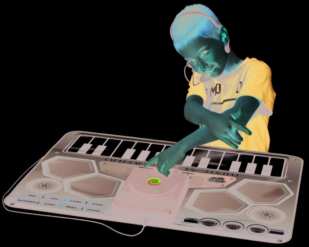 little DJ playing with the music playmat from brightminds toys