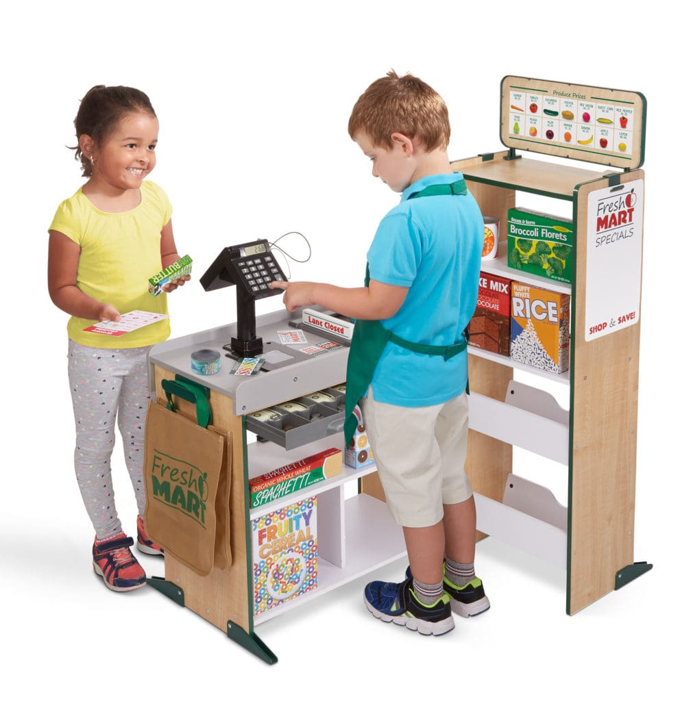 melissa doug smart grocery store with boy and girl playing