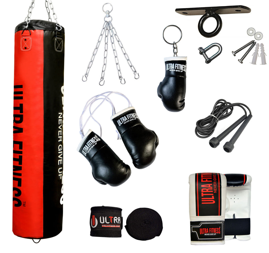 ULTRA FITNESS Punch Bags set with Ceiling hook (Black and Red)