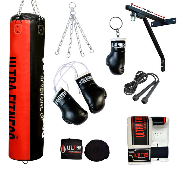 ULTRA FITNESS Punch Bags set with Bracket (Black and Red) - ULTRA FITNESS