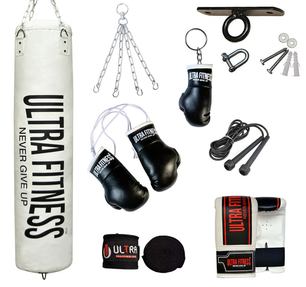 ULTRA FITNESS Punch Bags set with Ceiling hook (White) - ULTRA FITNESS