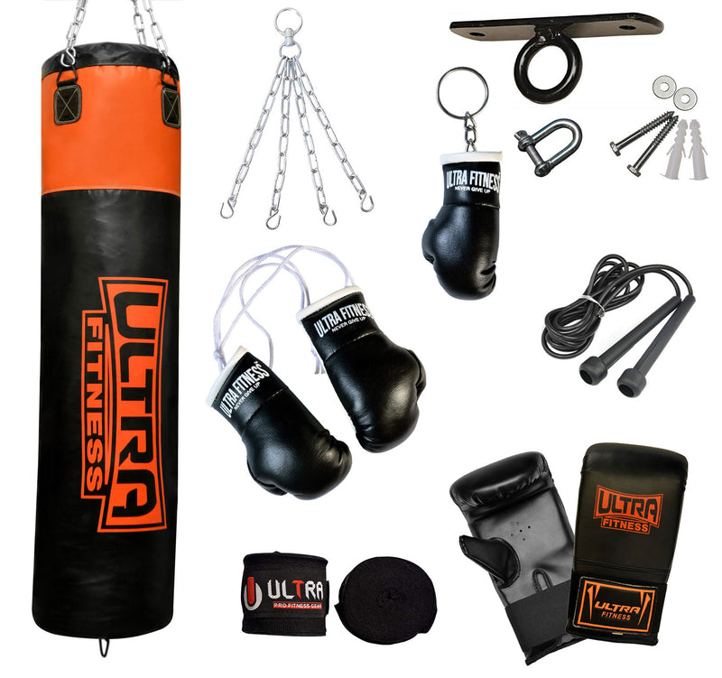 ULTRA FITNESS Punch Bags set with Ceiling hook (Black and Orange) - ULTRA FITNESS