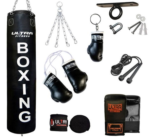 ULTRA FITNESS Punch Bags set with Ceiling hook (Black) - ULTRA FITNESS