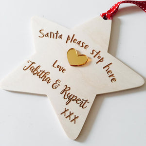 Personalised wooden santa stop here sign