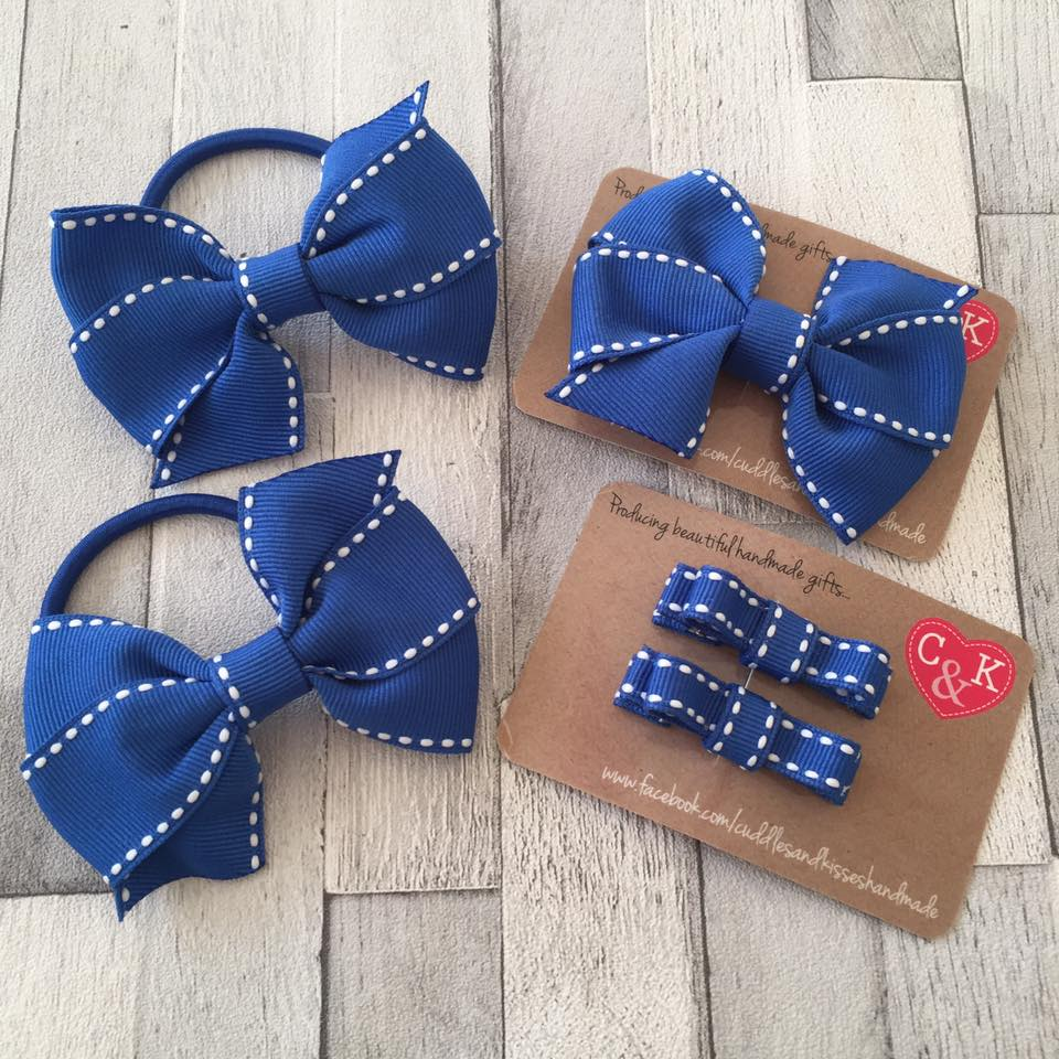 Electric blue saddlestitch school bow set