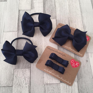 Navy blue school bow set