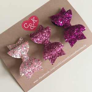Sparkly pinks set of 3 mini bows
