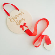 Personalised wooden engraved bow holder with acrylic bow