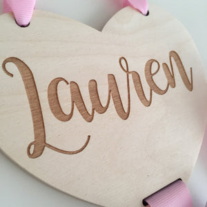 Wooden heart personalised bow holder
