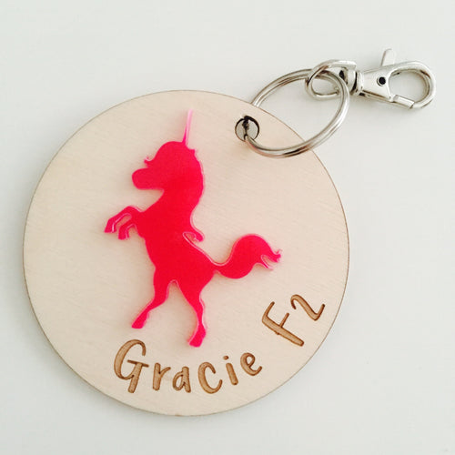Unicorn personalised bag charm