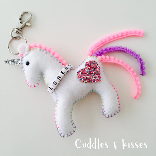 Personalised unicorn bag charm