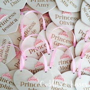 Wooden personalised princess heart