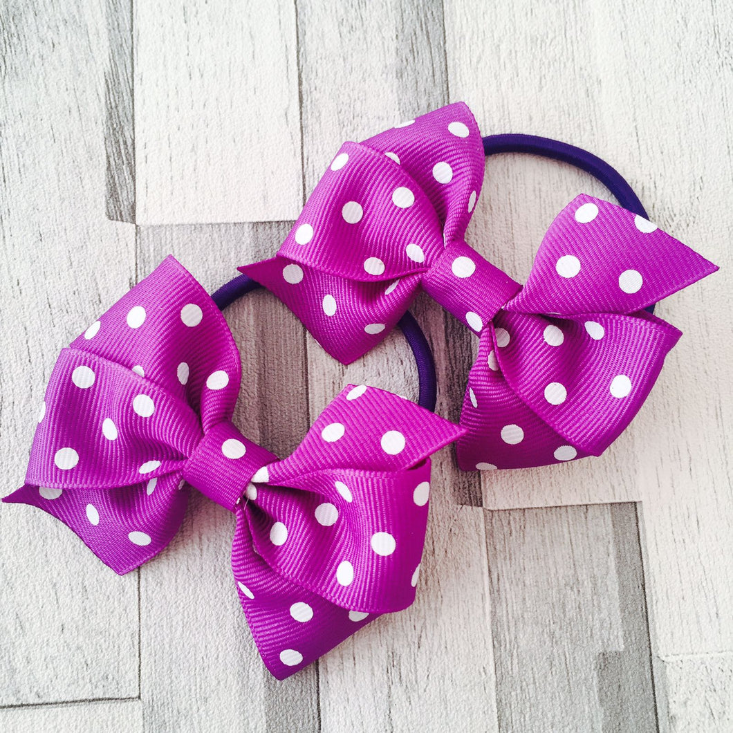 Set of 2 purple spot hair bobbles
