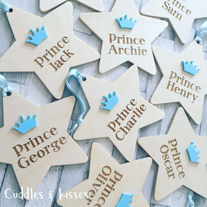 Personalised wooden prince star