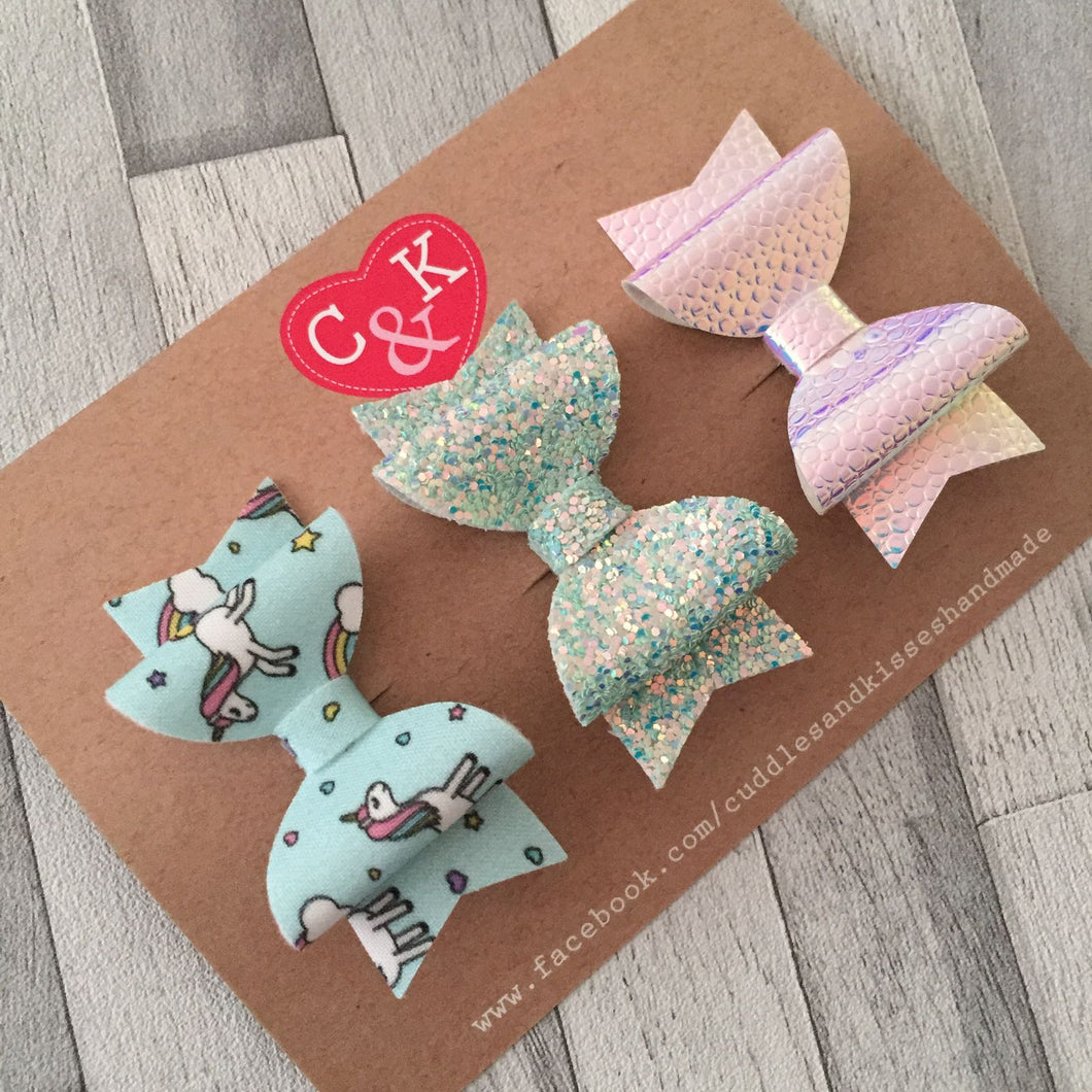 Mint unicorn set of 3 mini bows
