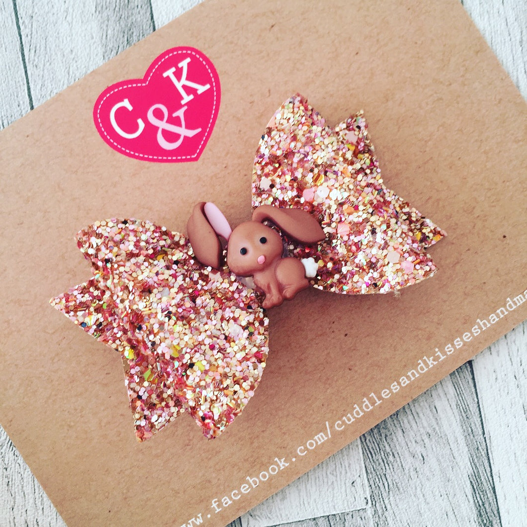 Rose gold bunny bow