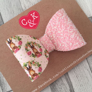 Pastel pink sparkle bunny bow
