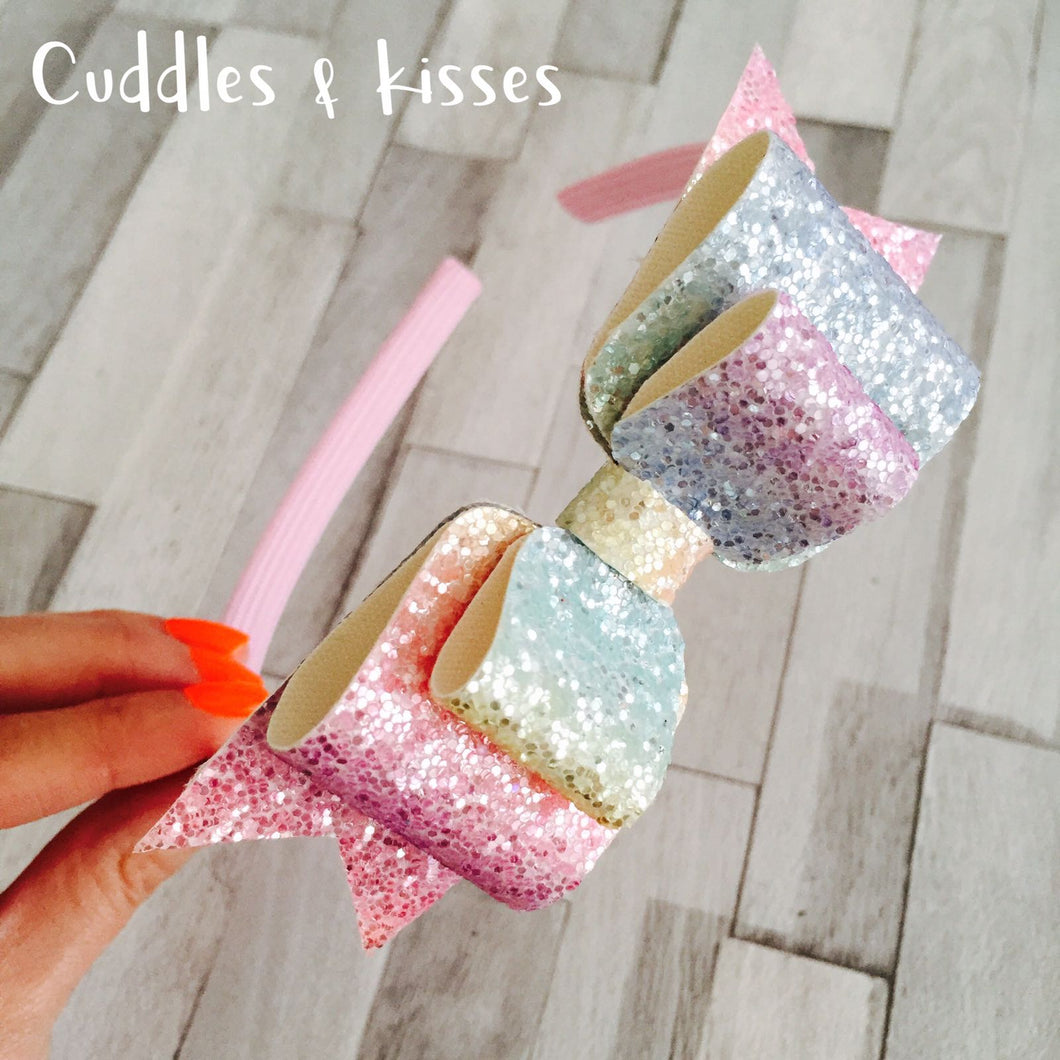 Pastel rainbow sparkle bow