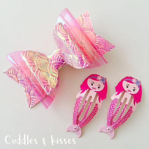Mermaid bow and clip set