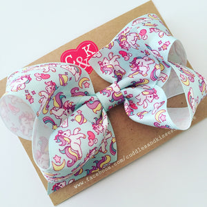 Mint unicorn poppy bow