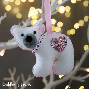 Polar bear with pink sparkle