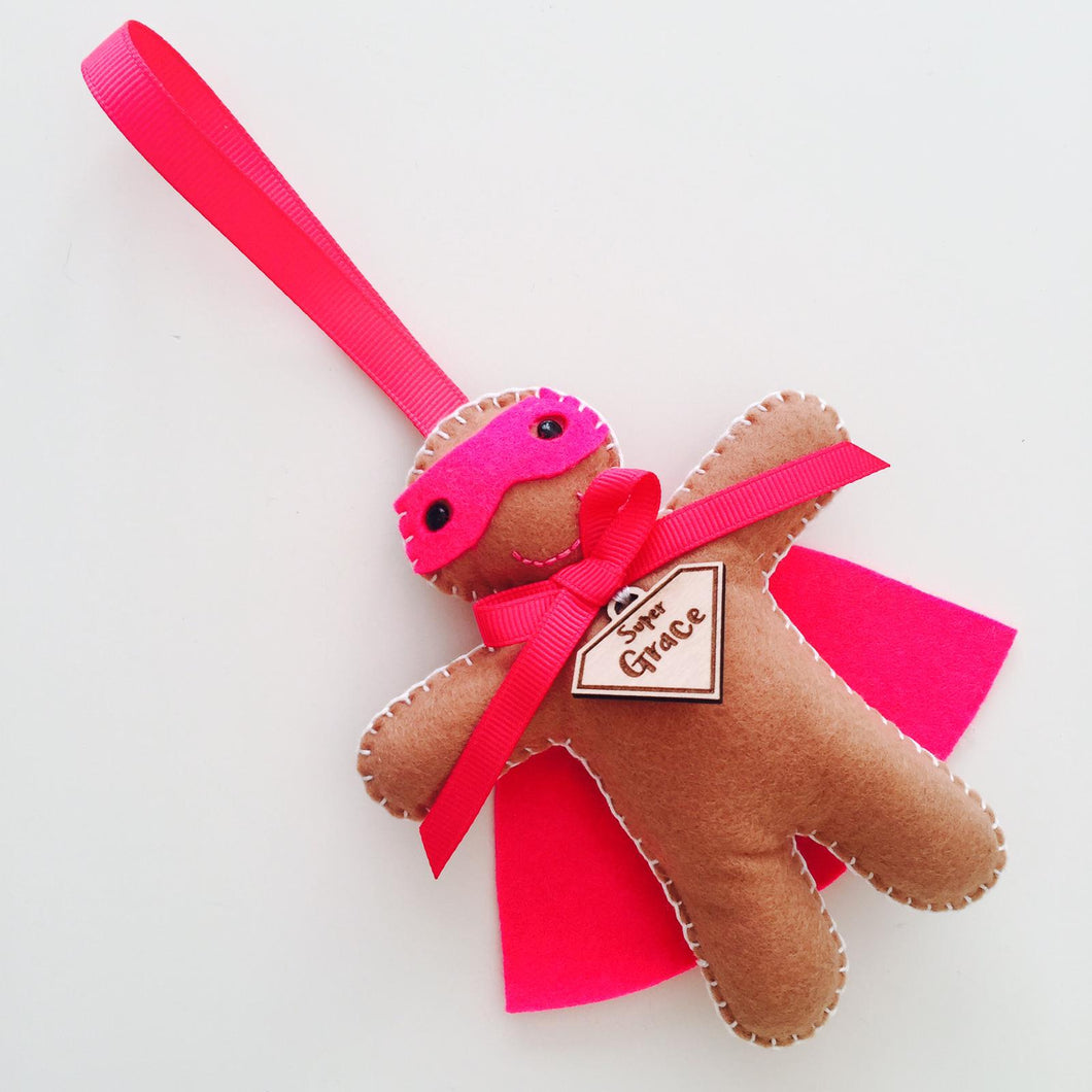 Hot Pink Super Hero Gingerbread Girl