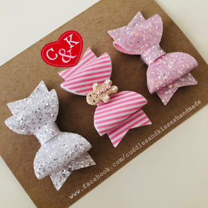Pink gingerbread set of 3 mini bows