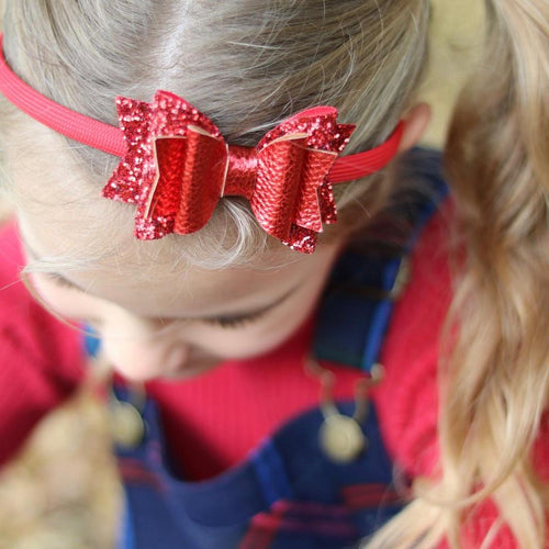 Sparkle red fabric mix bow