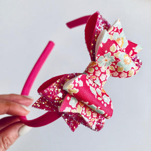 Hot pink floral bow
