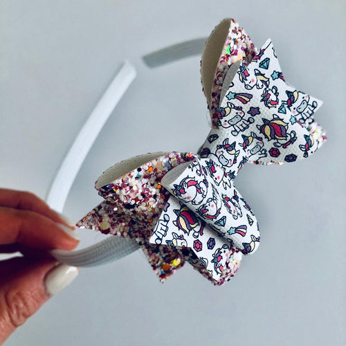 White multicolour unicorn bow