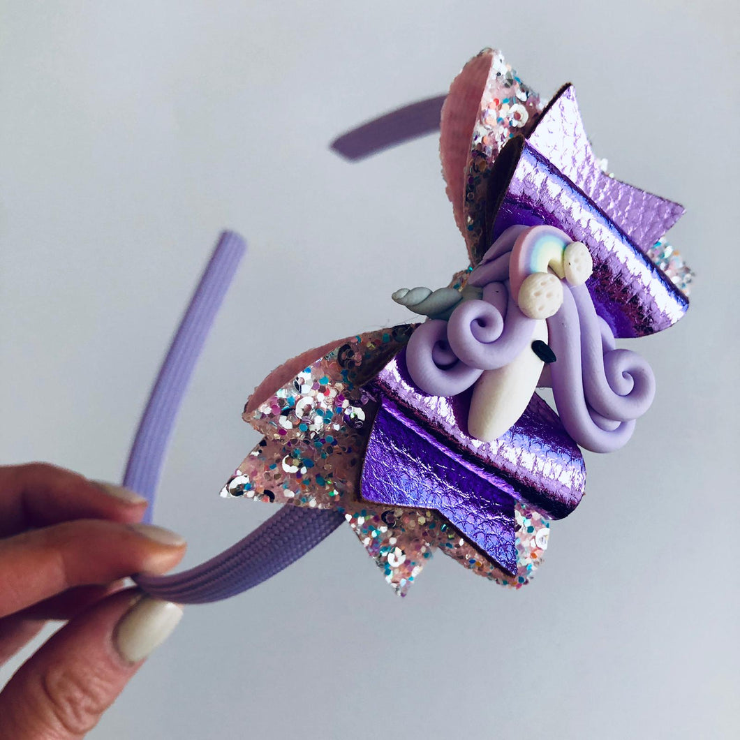 Lilac rainbow unicorn bow