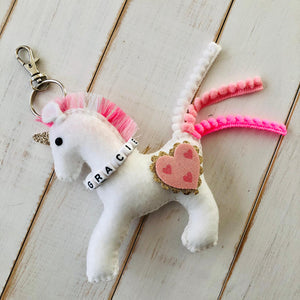Pink & white felt unicorn bag charm