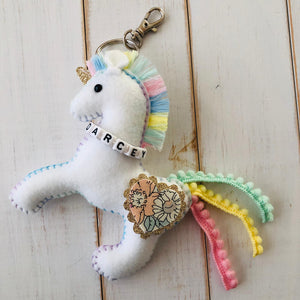 Rainbow liberty unicorn bag charm