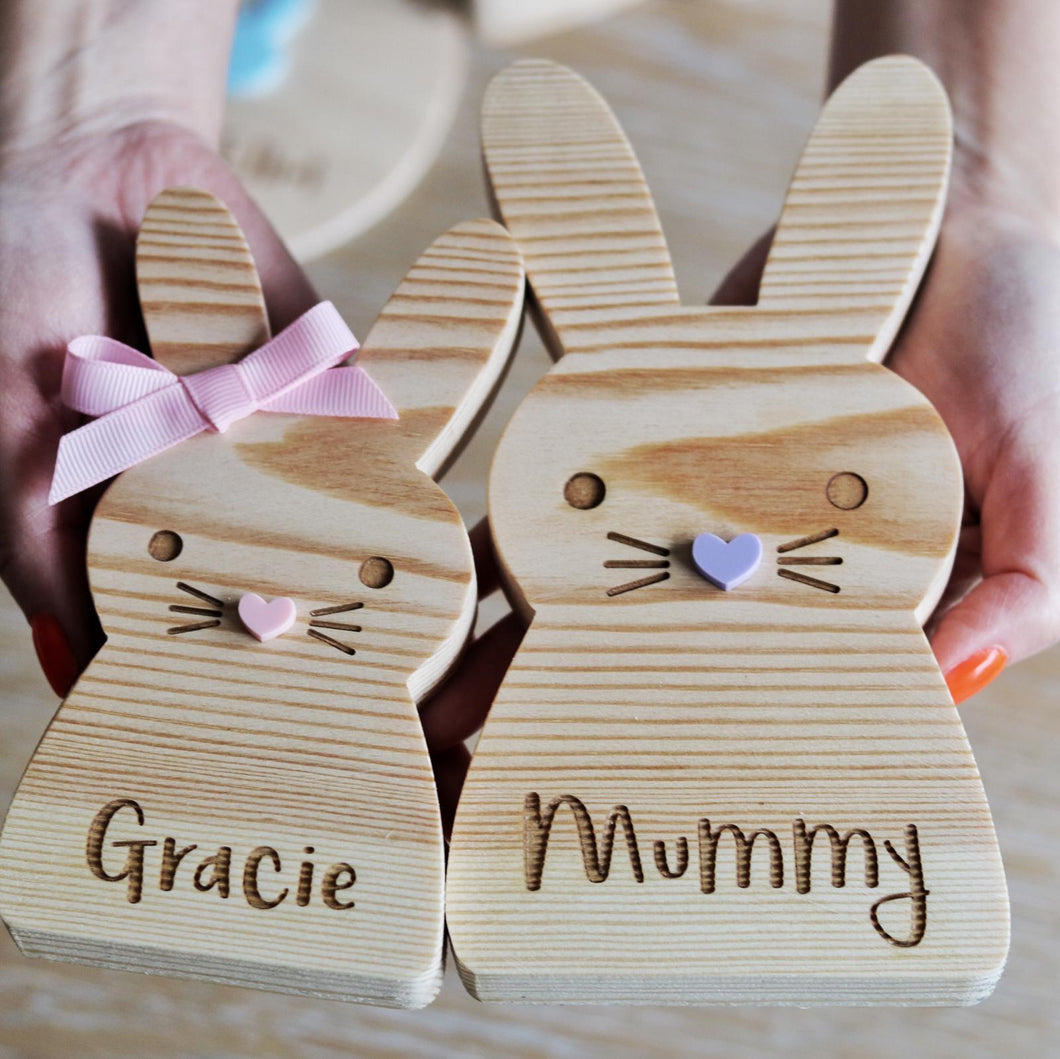 Personalised wooden bunny (large)
