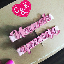 Personalised pink mirrored name clip