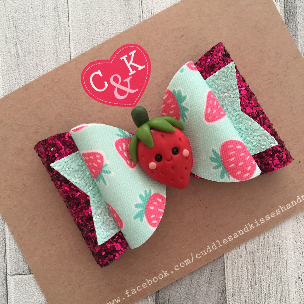 Hot pink strawberry bow large