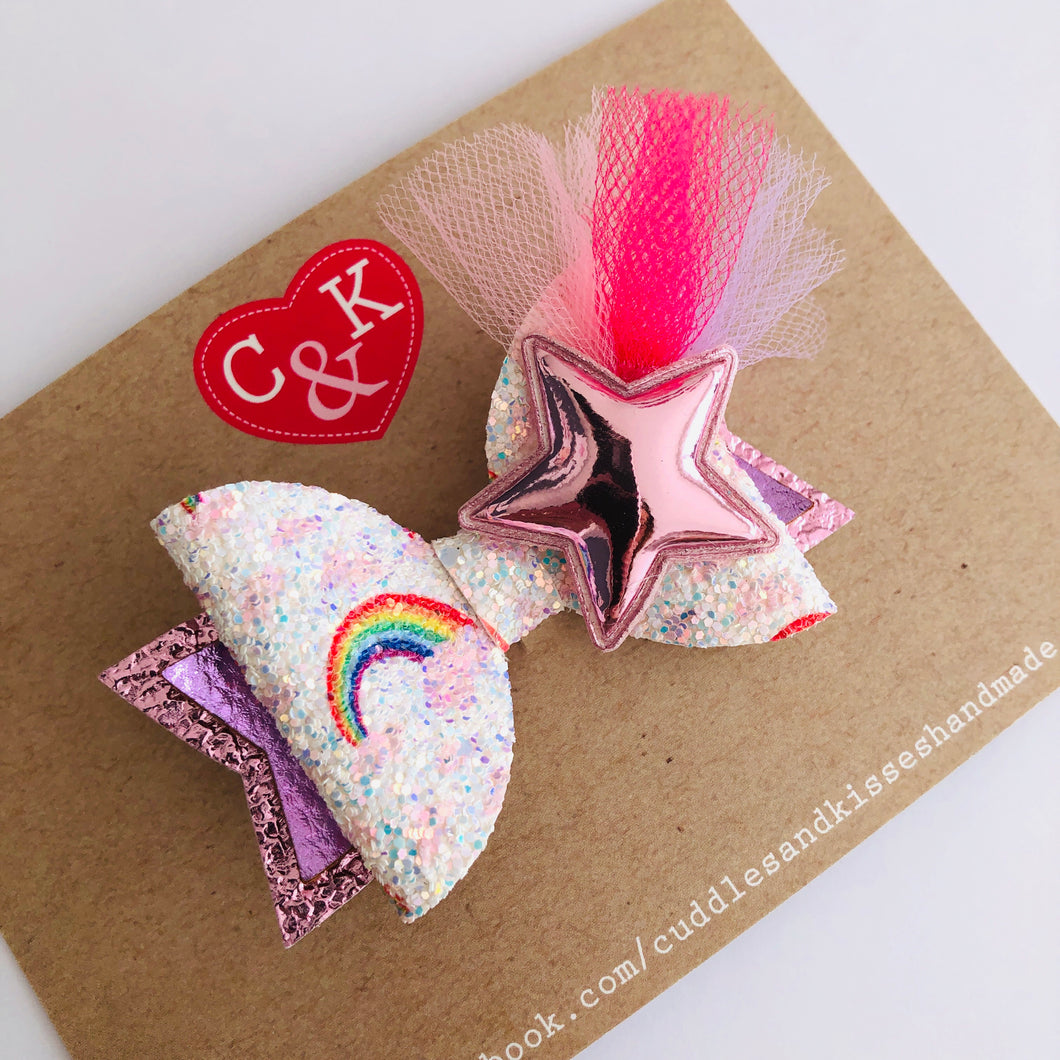 Pale pink star burst bow