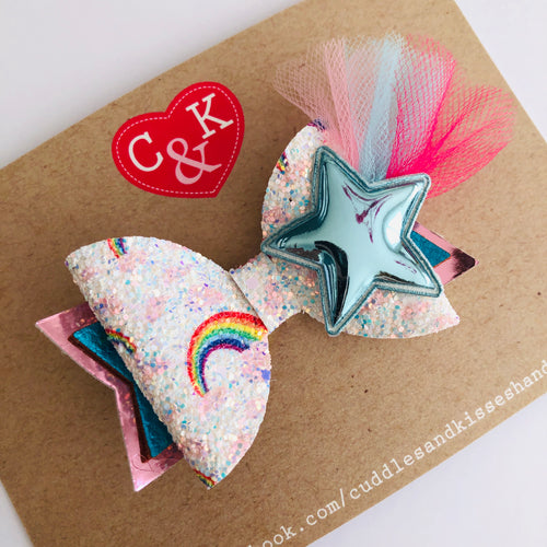 Baby blue starburst bow