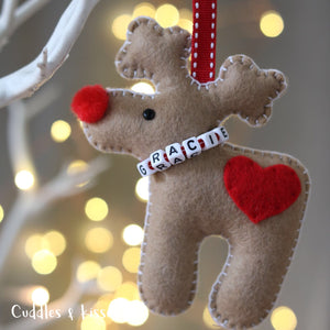 Brown reindeer felt decoration