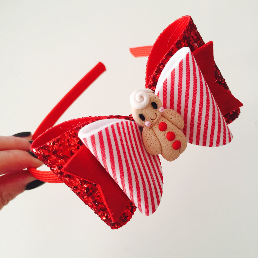 Red and White Candy Gingerbread Bow